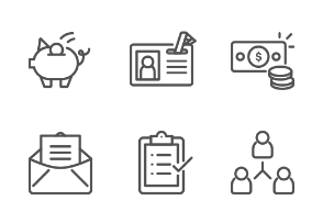 Business Outline Icon Set