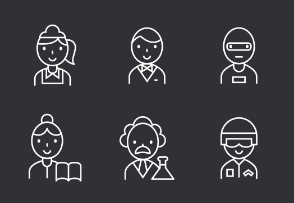 Career Thinline Icons Set