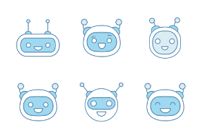 Chat bot emoji blue. Filled. Color
