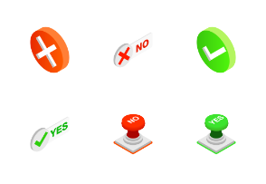 Check mark Yes and No - isometric