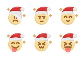 Christmas Emoji & Santa Claus Emoticon (Flat Style)