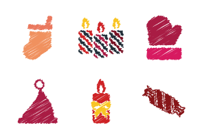 Christmas Scribbles Icons Filled