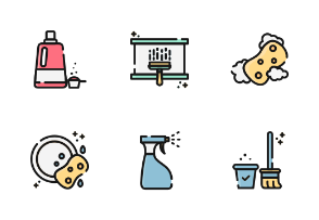 Cleaning With Color And Outline Iconset