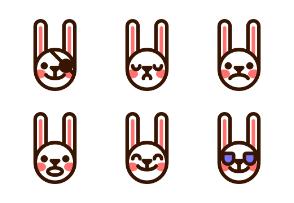 Color rabbit emojis