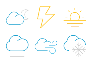Color Weather icons in thin line style