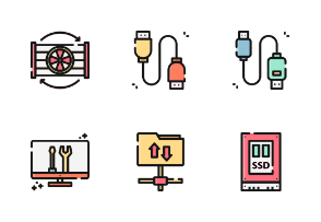 Computer Science With Outline And Color Iconset