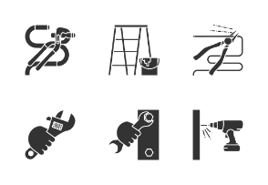 Construction tools. Glyph. Silhouettes