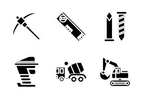 Construction Tools Set Glyph Style