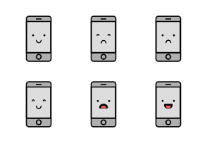 Cute Smart Phone Emoji In Different Expressions