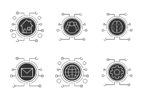 Cybersecurity. Glyph. Silhouettes