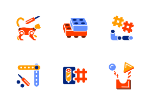 Different types of toys blocks in colored glyph style