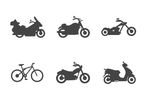 Different types of two wheels transport in glyph style