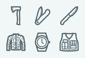 ELASTO Military and tactical gear Flat & Outline icons