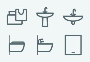 ELASTO Bathroom and sanitary engineering Flat & Outline icons