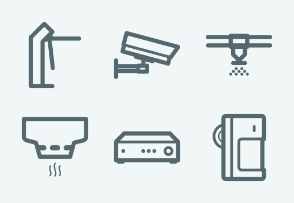 ELASTO Fire alarm and security systems Flat & Outline icons
