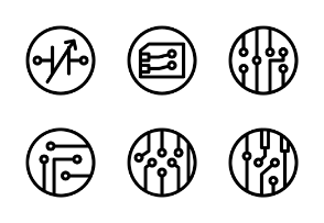 Electronic Components Black Outline