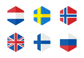 Europe Flag Icons. Hexagon Flat Design