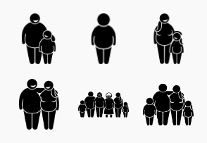 Fat Obese Overweight Family and People