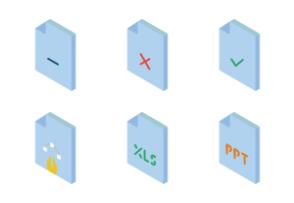 Files And Folders Isometric 2 - Flat