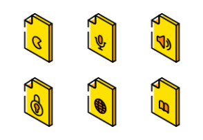 Files And Folders Isometric 2 - Yellow
