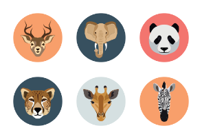 Flat Animal Faces Icons