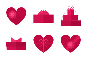 Flat gift boxes in the shape of hearts