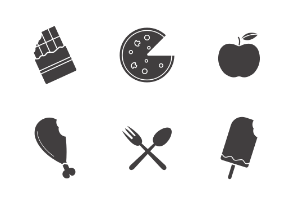 Food and drinks. Glyph. Silhouettes