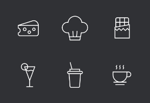Food Thinline Icons Set