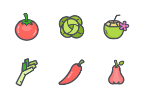 Fruit and Vegetable color with stroke