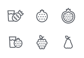 Fruit Outline icons set