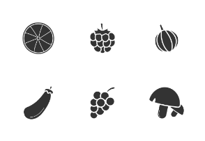 Fruits and vegetables. Glyph. Silhouettes