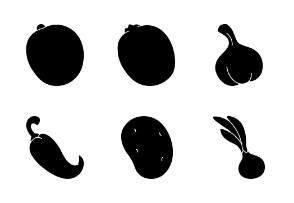 Fruits and Vegetables Silhouette
