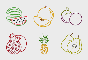 Fruits Outline Colored