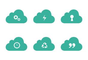 Green Cloud Icon set version 03