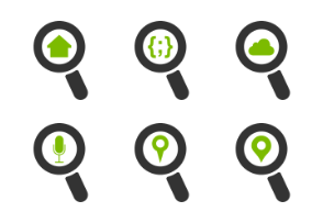 Green magnifier icons set version 01