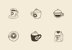 Hand-drawn coffee objects