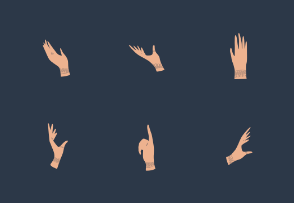 Hand with bracelets, rings in various positions
