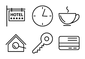Hotel and Restaurant Line Icons Vol 1
