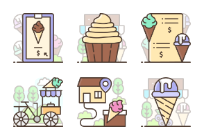 Icecream parlour Filled Outline