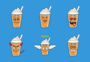 Iced Coffee Emoji Cartoons