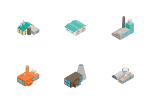 Industrial building factory - isometric