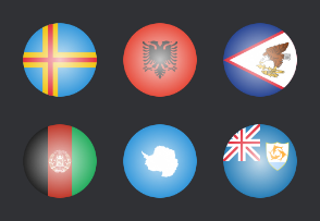 International glossy flags