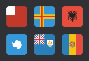International Rounded Square Flags