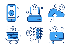 Internet Of Things Line Filled Blue