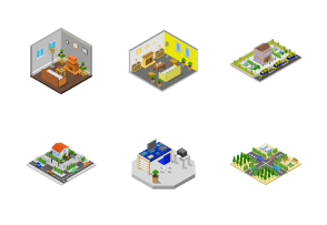 Isometric buildings illustrated