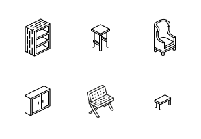 Isometric Outline Furniture