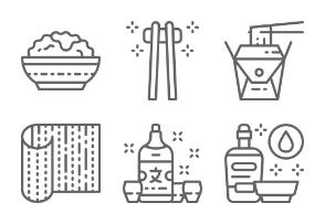 Japanese Food And Sushi  - Line set