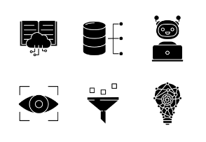 Machine learning. Glyph. Silhouettes