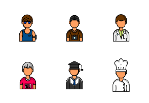 Male Avatar In The Various Professions
