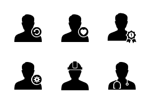 Male User Person Avatar Glyph Vol 1